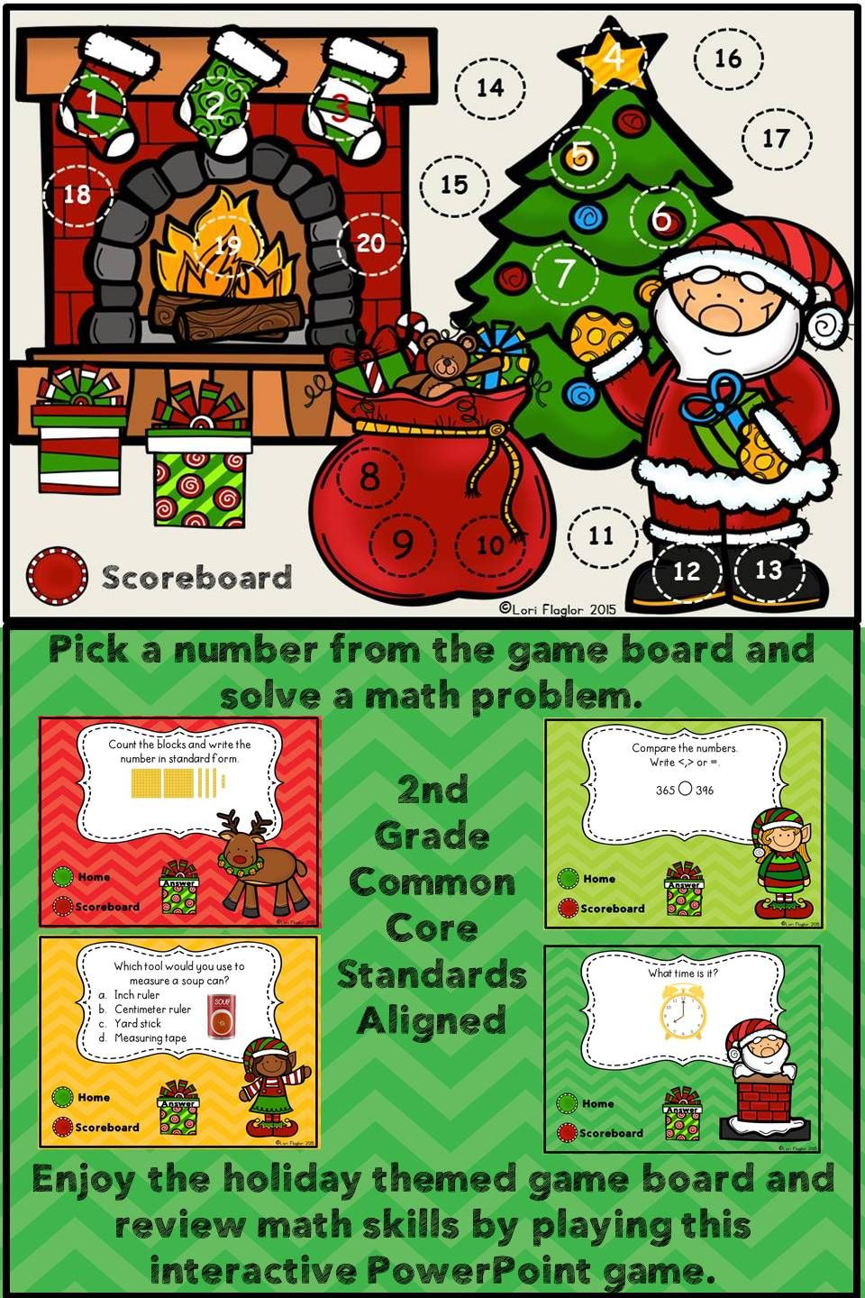 This is the perfect holiday themed game to review 2nd grade key math skills.