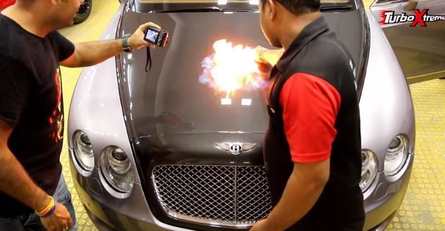 4 crore rupee Bentley set on fire to show how effective