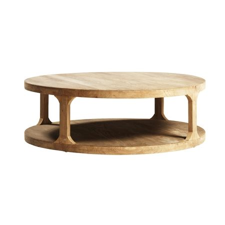 Two tiered round bleached elm wood coffee table with storage shelf