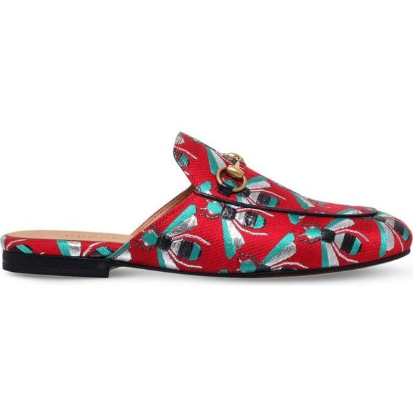 b3005a09d GUCCI Princeton bug-print backless loafers ($535) ❤ liked on Polyvore  featuring shoes, loafers, red comb, print shoes, slip-on loafers, loafers  moccasins, ...