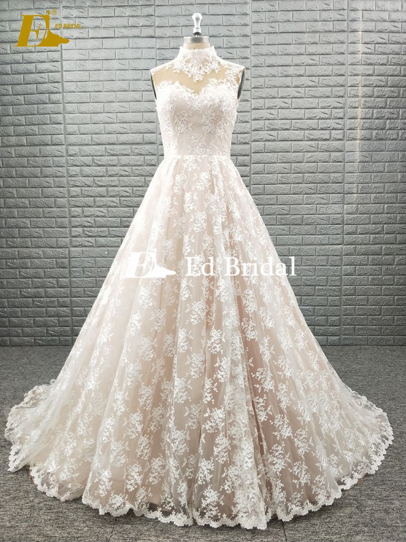 High neck wedding dresses  HIGH NECK SLEEVELESS LACE FABRIC WEDDING DRESS CHAMPAGNE COLOR