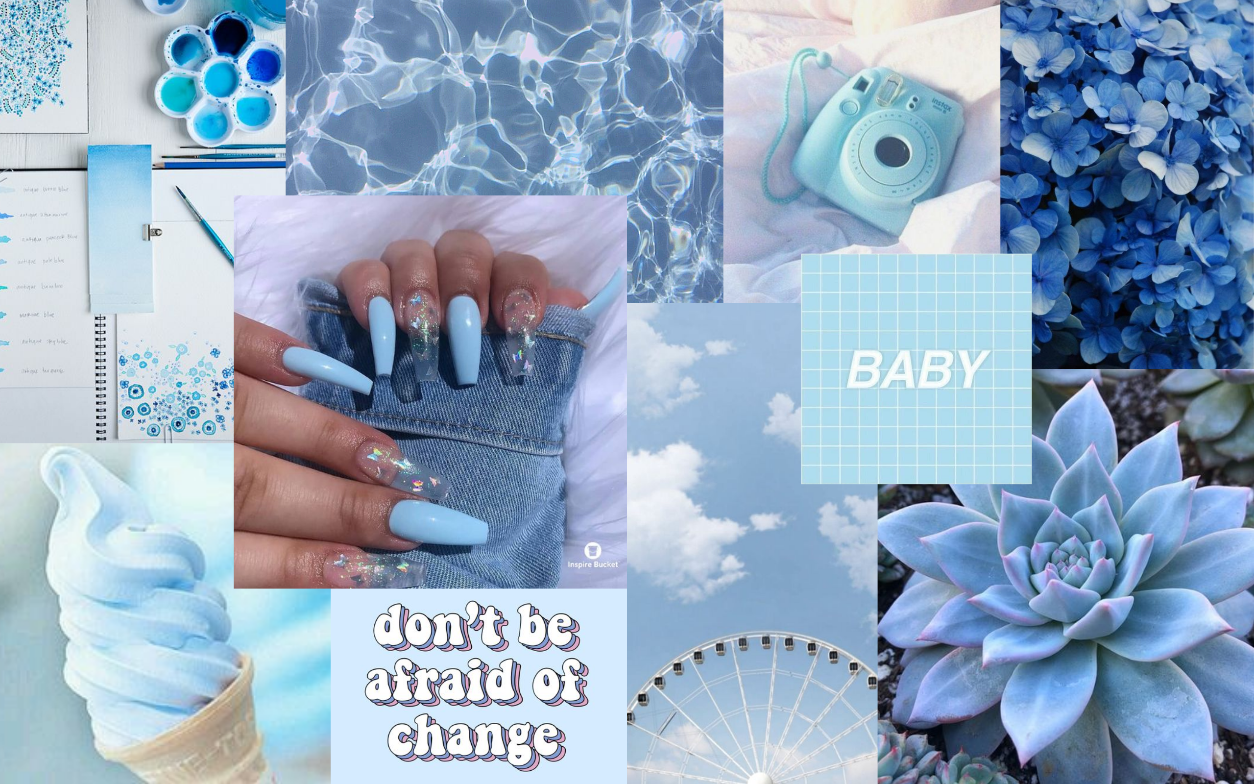 blue 3 aesthetic desktop wallpaper flower desktop