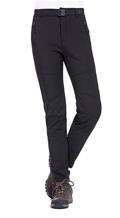 Geval Womens Outdoor Hiking Pants Softshell Fleece Snow Pants