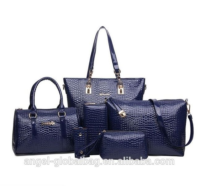 702b12a0d9 Source Hot sale wholesale famous brand low price crocodile bridal ladies  handbag sets 6pieces with 5 pieces bag free on m.alibaba.com