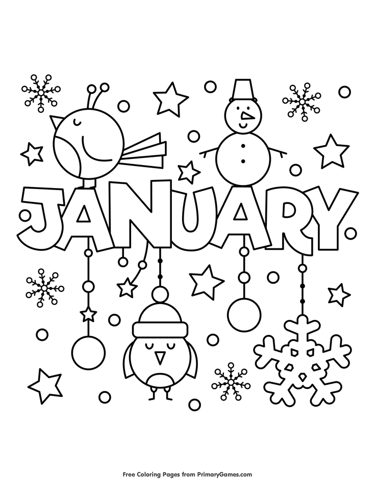 Winter Coloring Pages eBook January