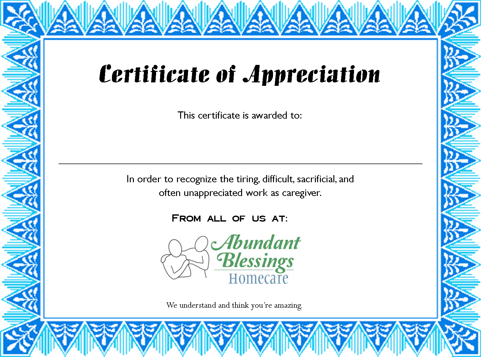 Certificate of appreciation are you a family caregiver who feels certificate of appreciation are you a family caregiver who feels invisible we see you 1betcityfo Choice Image