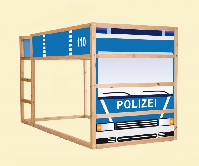 aufkleber f r das hochbett ikea kura motiv polizeiauto. Black Bedroom Furniture Sets. Home Design Ideas