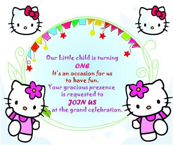 Hello Kitty Invitation Card For 1st Birthday Template