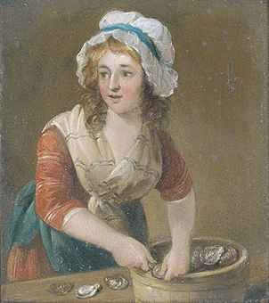 The oyster girl, circle of Francis Wheatley, R.A. (1747-1801) Christie's Interiors 2 August 2011 London, South Kensington Note: the spacing of the stripes in the gown and kerchief, the hair is worn down with a cap.