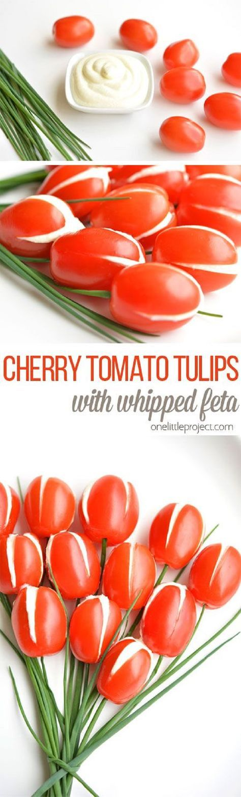 Cherry Tomato Tulips with Whipped Feta Filling - 16 Meaningful Mother's Day Brunch Ideas for a Wonderful Celebration