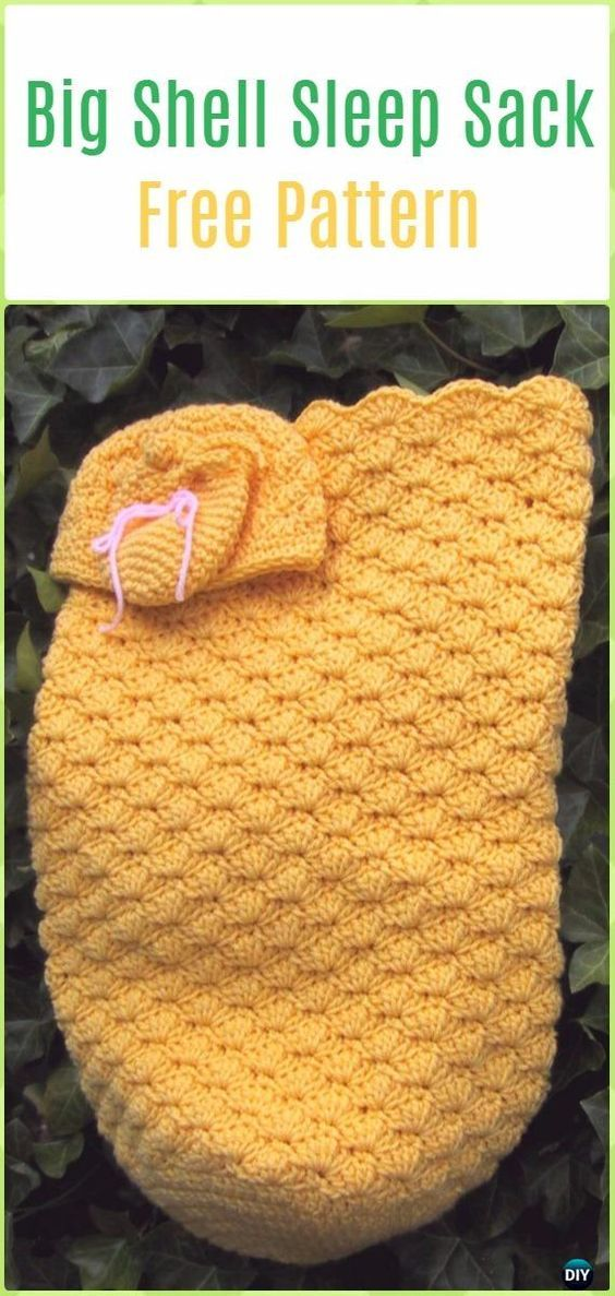 Crochet Big Shell Sleep Sack, Cap& Mitts Free Pattern