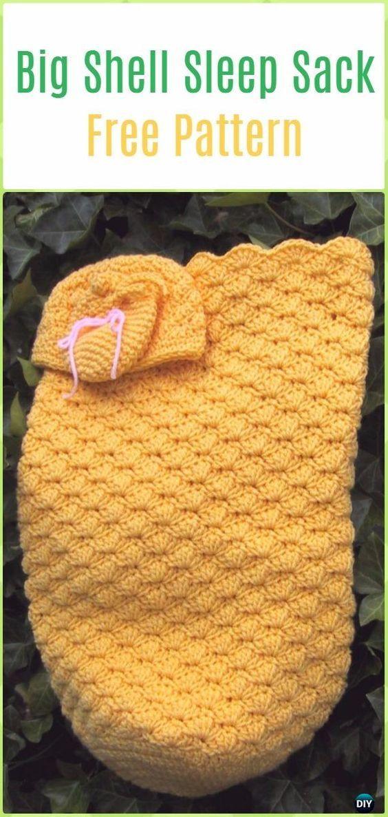 Crochet Big Shell Sleep Sack, Cap& Mitts Free Pattern