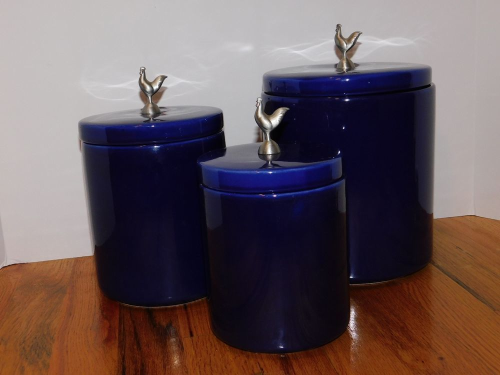 Boston Warehouse Trading Co Cobalt Blue Ceramic Canister Set With Rooster Lids Collectibles Kitchen Ceramic Canister Set Ceramic Canisters Blue Ceramics