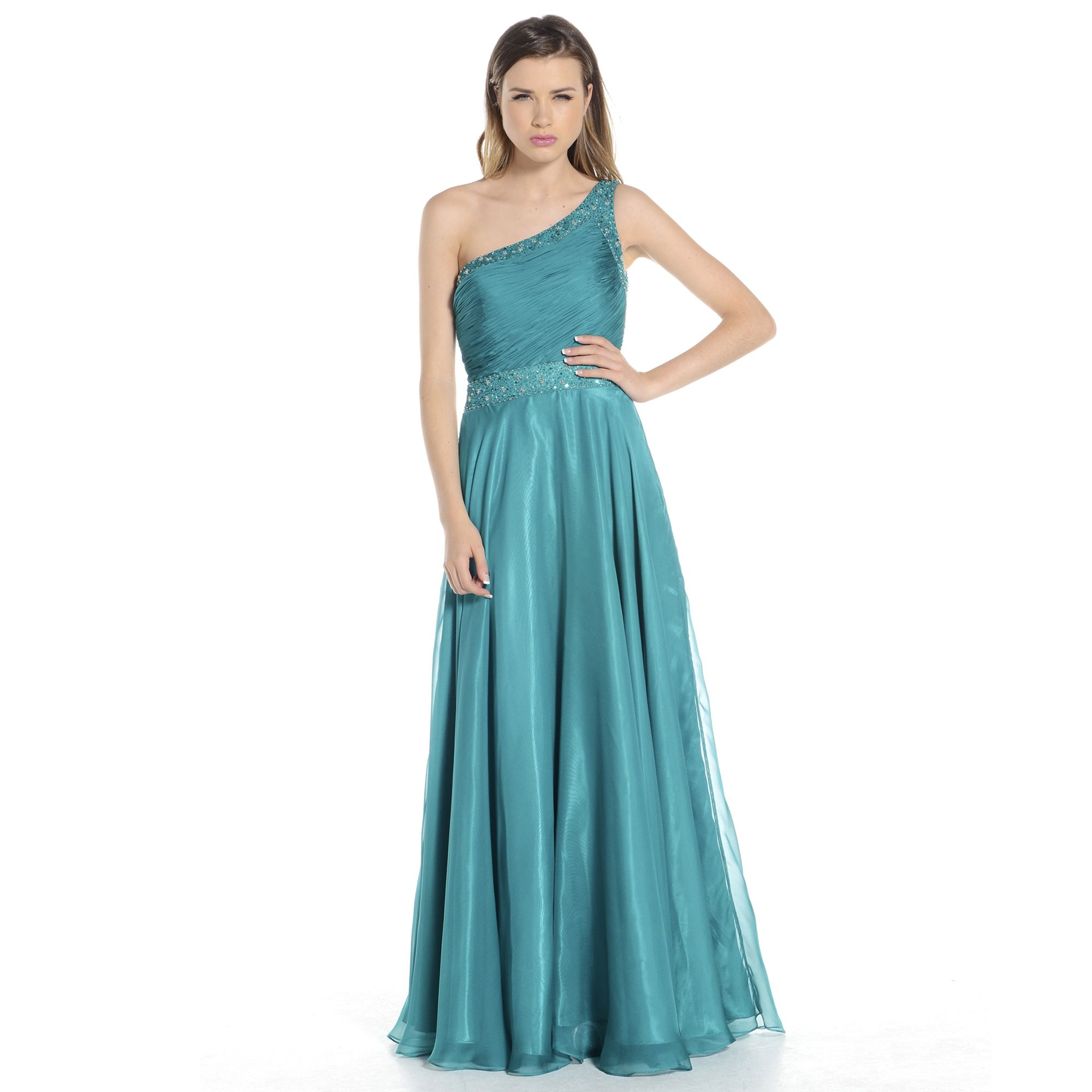 A beautiful backless Grecian style gown with diamante and sparkle ...