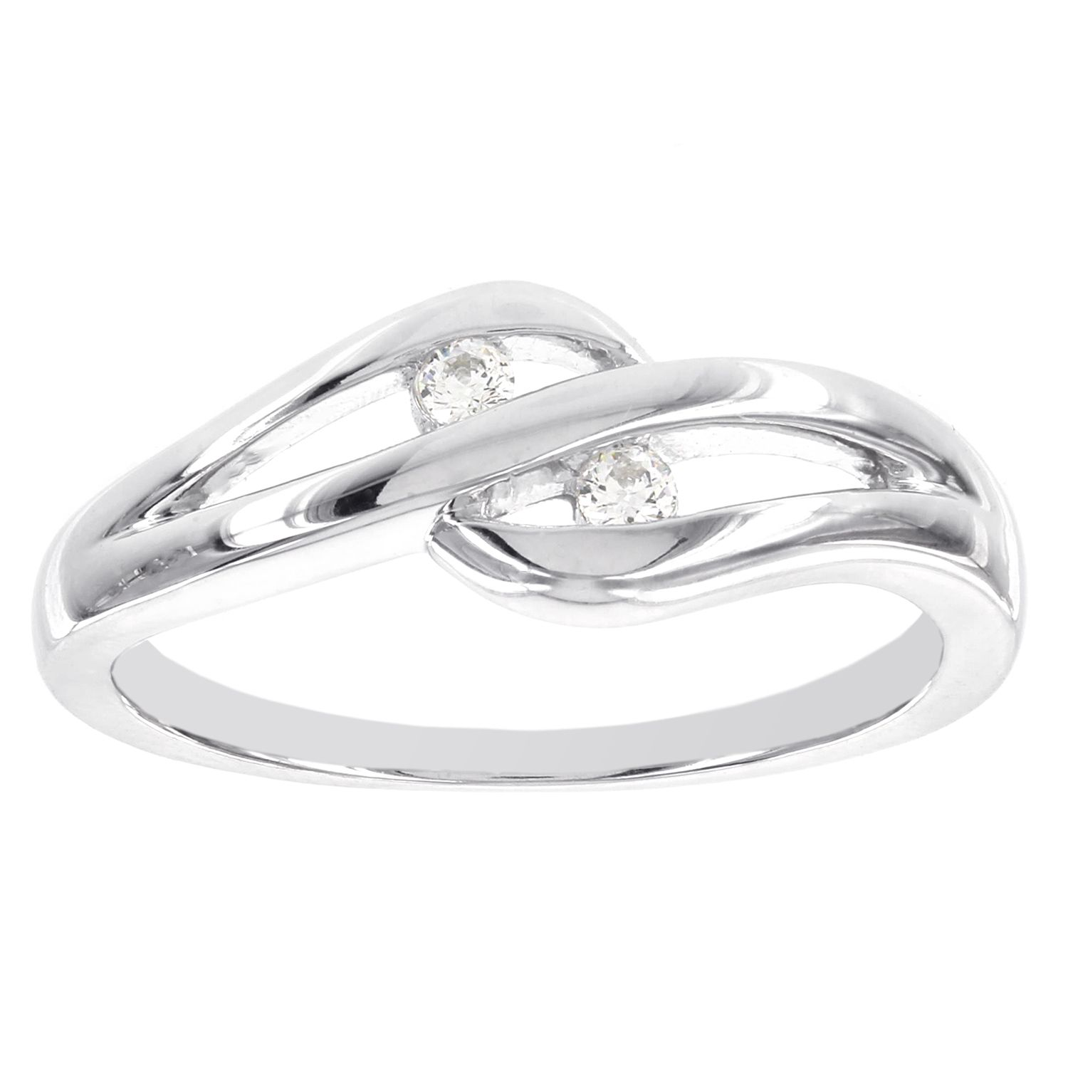a808e458b1 H Star Sterling Silver Diamond Accent Two-stone Cut-out Promise Ring (I-J,  I2-I3) (Size 9), Women's, White