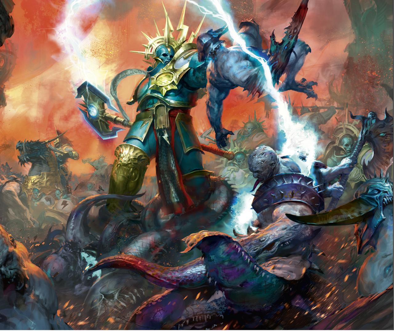 http://wellofeternitypl.blogspot.com/ Age of Sigmar Artwork | Stormcast  Eternals vs Tzeentch followers #ar… | Warhammer fantasy, Warhammer,  Warhammer fantasy battle