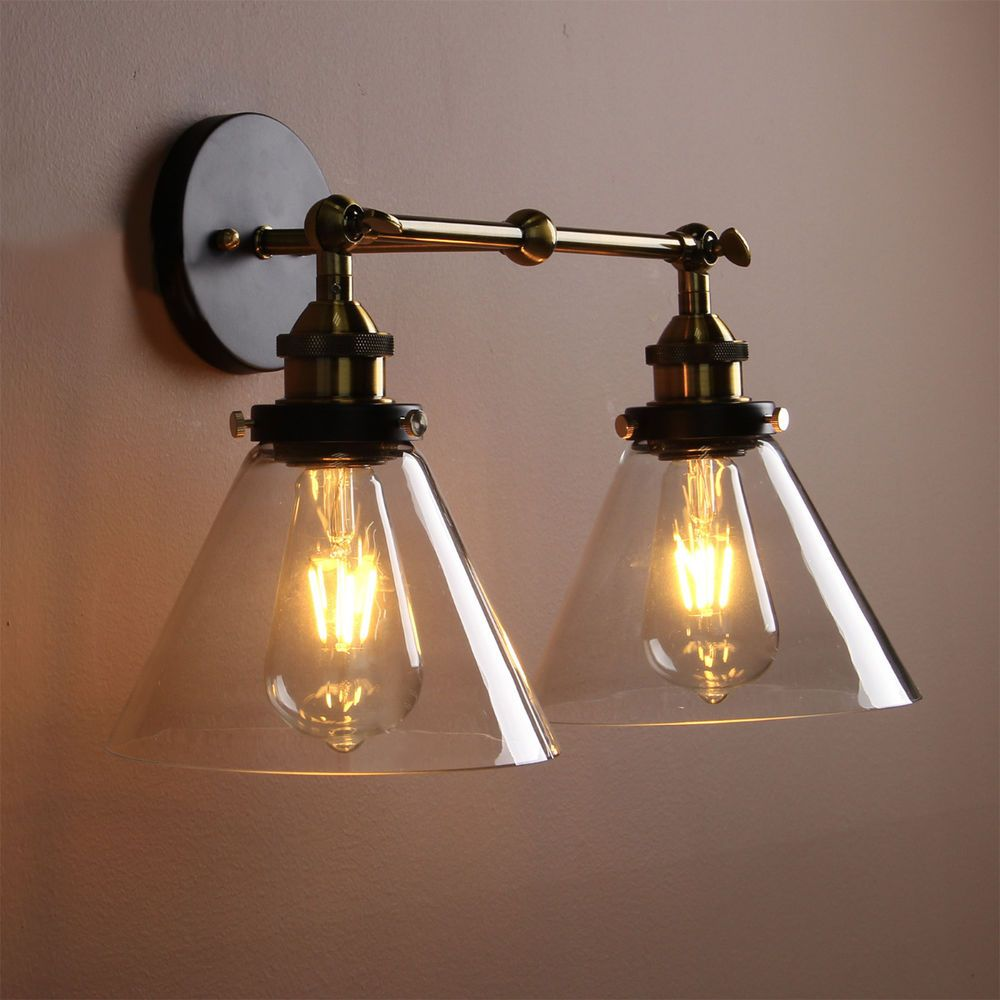 VINTAGE INDUSTRIA WALL LIGHT DOUBLE ARMS RUSTIC SCONCE GLASS WALL LAMP UK  SELLER