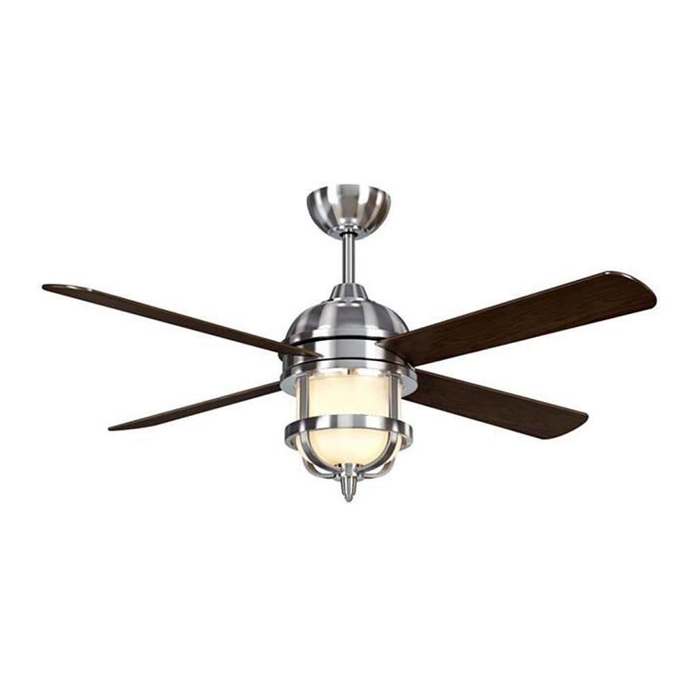 Hampton bay senze 52 in indoor brushed nickel ceiling fan with brushed nickel ceiling fan 24816 021 at the aloadofball Gallery