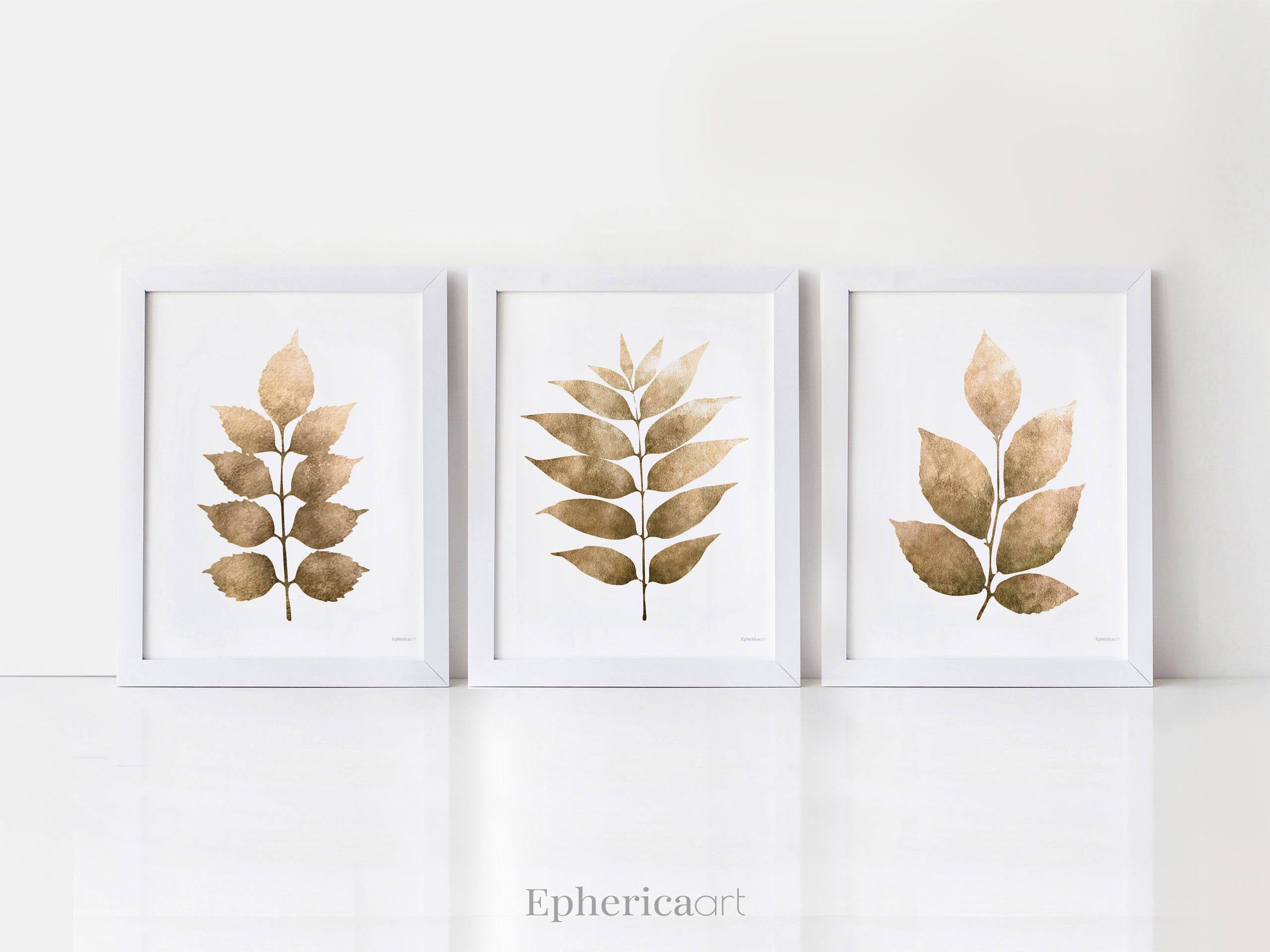Leaf Wall Art Prints 3 Piece Wall Art Monochrome Art Set Bedroom Prints Wall Art Brown Decor Printable Wall Decor Bathroom Set Of 3 Prints