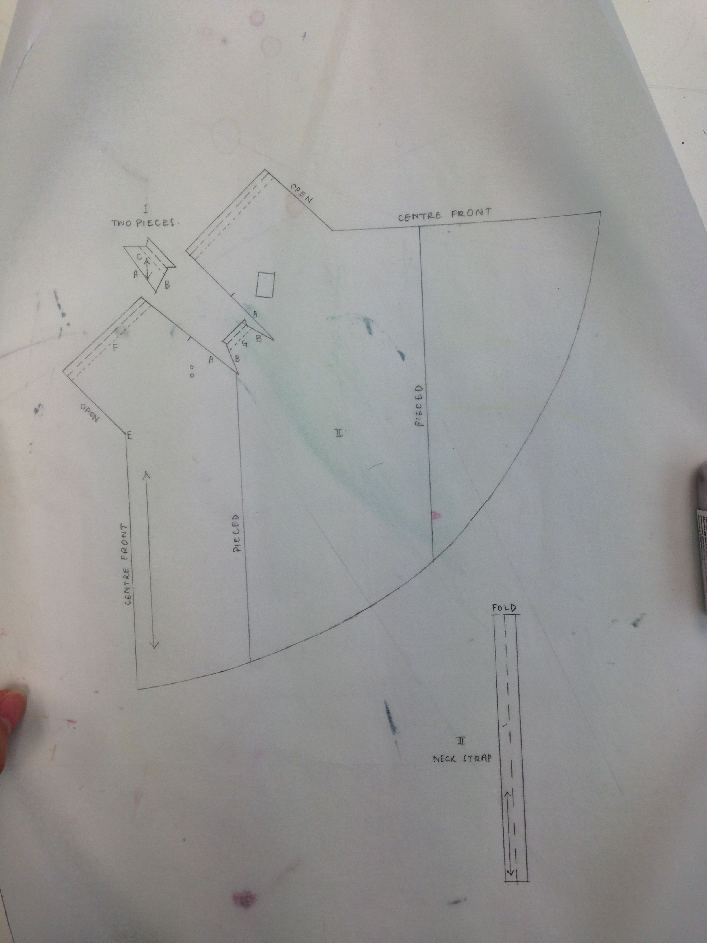 Copied off the dress pattern on drafting paper from the