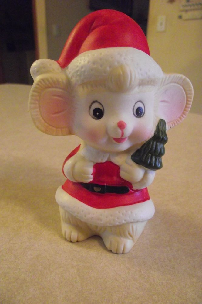 Ceramic Christmas Mouse Dressed As Santa Tree Big Ears Red