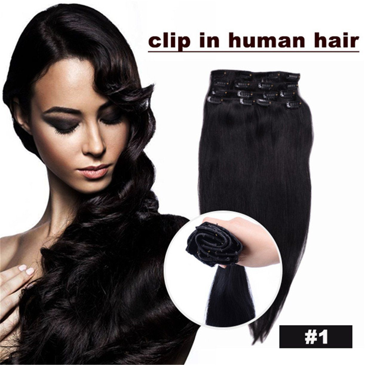 Superwigy® 20 Inch JET Black (Col 1). Full Head Clip in