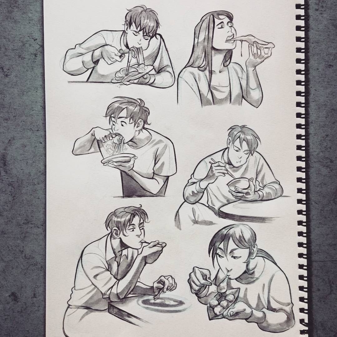 Injured My Foot And I Couldn T Go Out Eating With Friends So I Did Some Studies Of People Eating I Drawings Of Friends Art Reference Photos Art Reference Poses