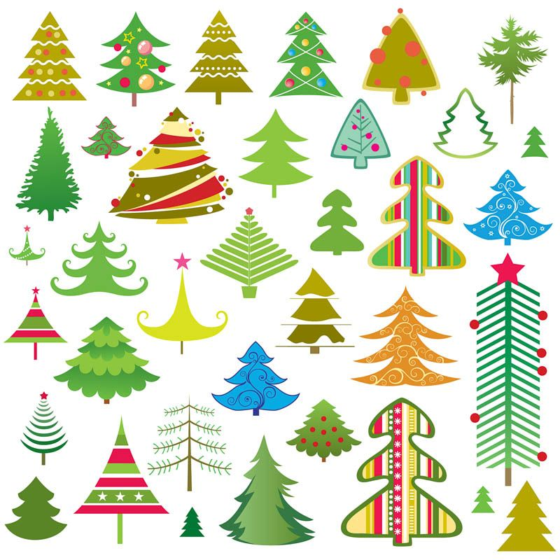 Cartoon Christmas Trees Vector Kerstmis Kaarten
