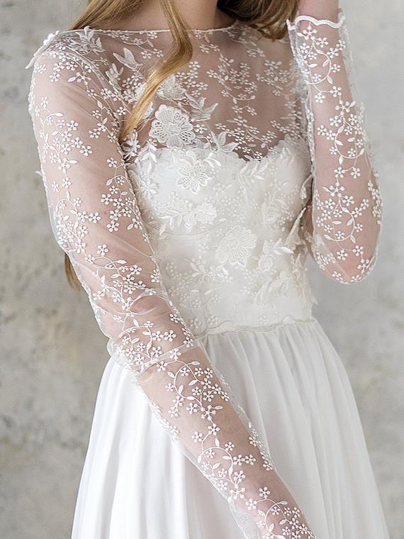 Photo of long sleeve wedding dress // simple wedding dress // corset …