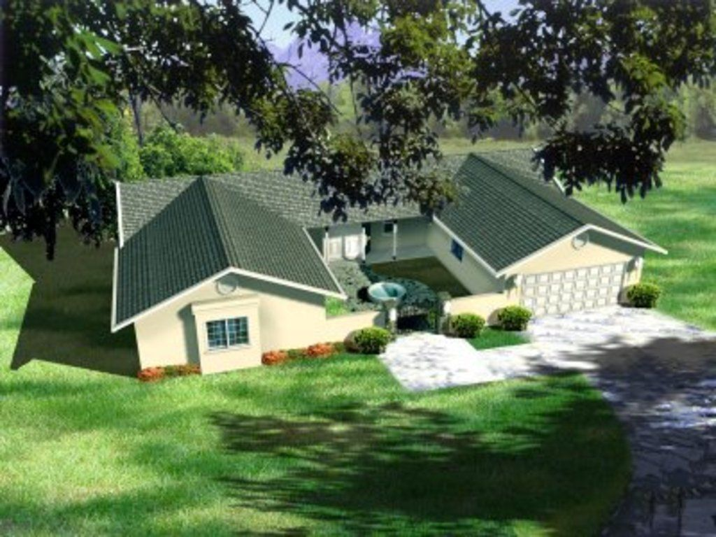 Plan 1 397 Courtyard House Plans U Shaped House Plans Ranch Style Homes