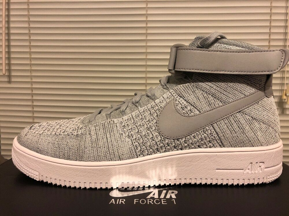 NEW Nike Air Force 1 Ultra Flyknit Mid Mens 817420 003 Grey
