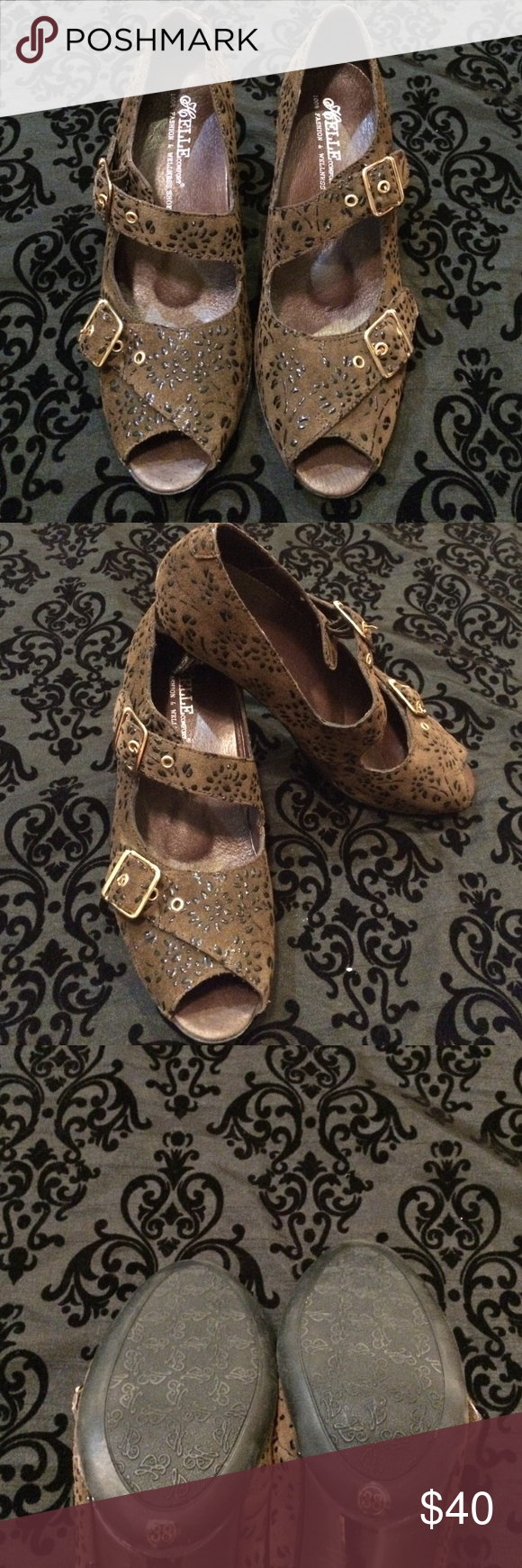 Gorgeous brown dress shoes Excellent condition well-made never been worn ready to wear Elle Shoes Heels