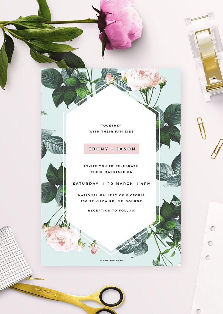 Modern Rose Engagement Invitations Vintage Rose Roses Blush Pink Modern Black Green Leaf Leaves Engagement Invite Custom Invite Contemporary