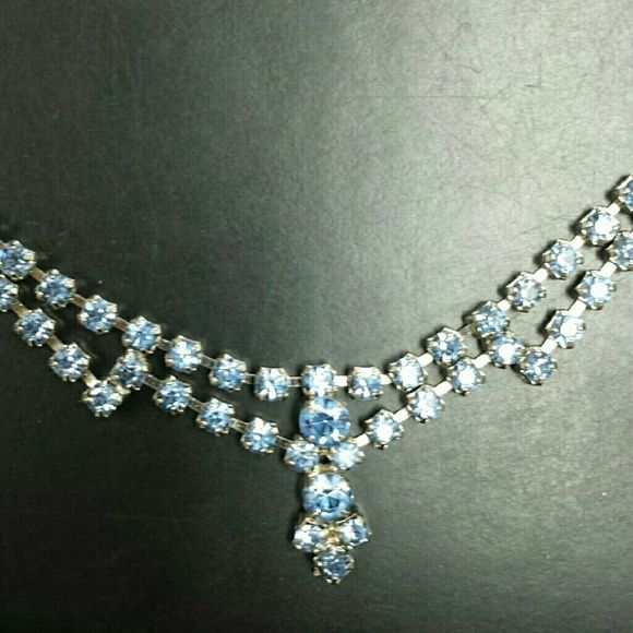 Vintage blue rhinestone choker Beautiful condition, sparkly, all prong set rhinestones intact. Unmarked. Vintage  Jewelry Necklaces