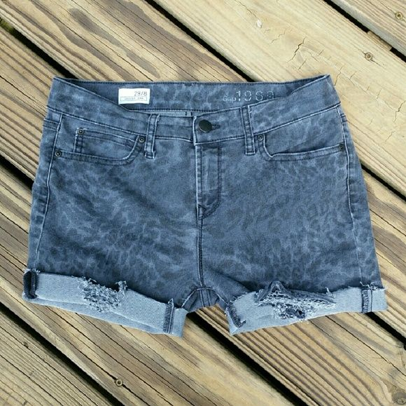 396243e40f Gap Animal Print Jean Shorts Summer must have! GAP, black wash, animal  print, distressed, cut off jean shorts. Wear straight or rolled up.