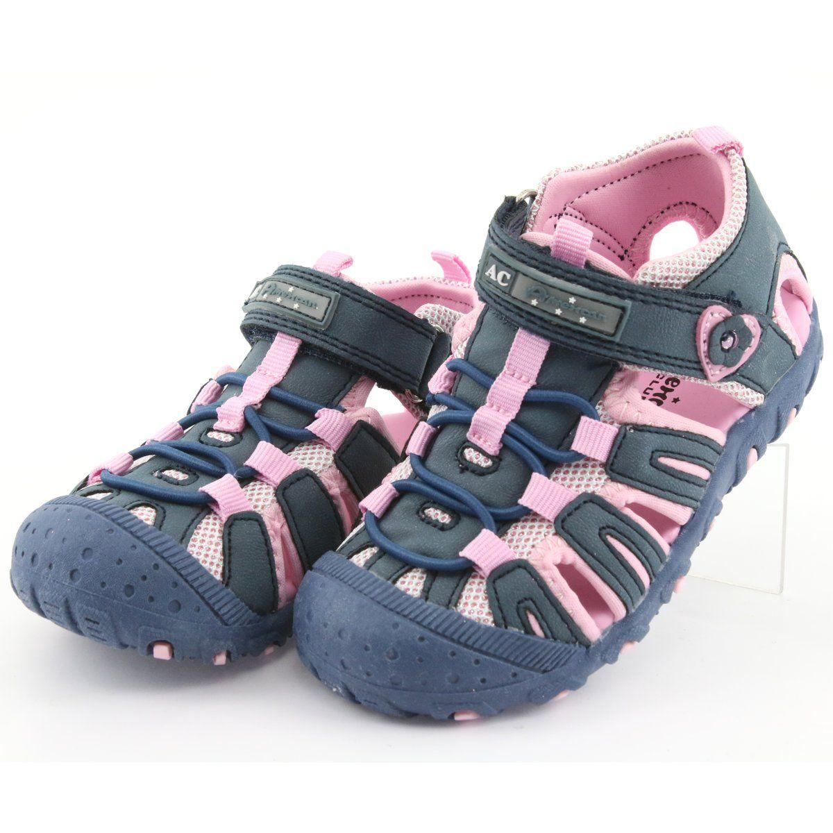 Sandalki Sportowe American Club Niebieskie Rozowe Girls Sandals Kid Shoes Sandals