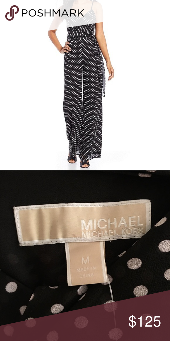 66bc66178343 NWT Michael Kors Sassy Polka Dot Jumpsuit Gorgeous Michael Kors black  jumpsuit  pantsuit with tiny white dots and matching sash. Dressy
