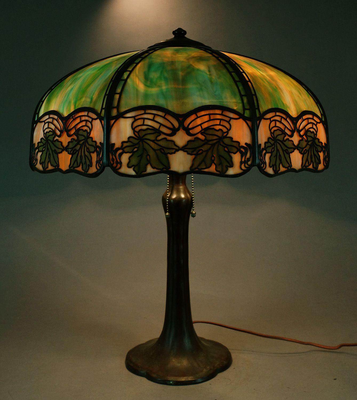 Signed Handel Maple Leaf Slag Glass Overlay Panel Lamp No Reserve