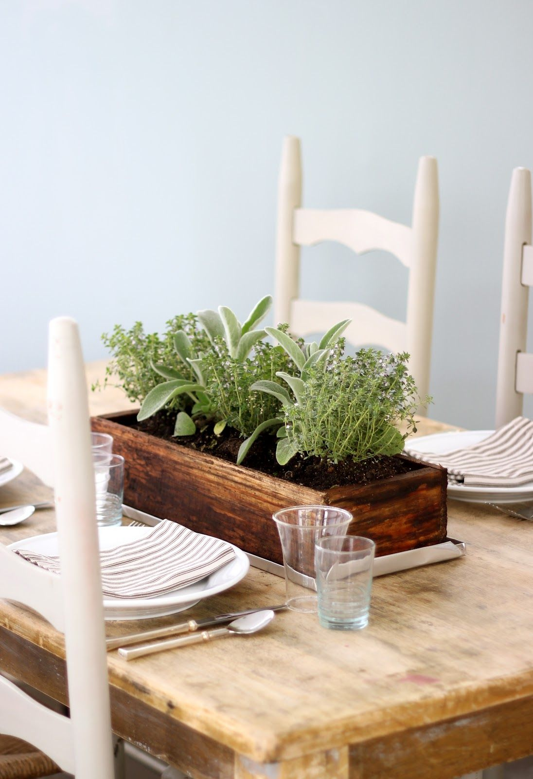 Jenny Steffens Hobick Easy Summer Centerpiece Planted Herbs Kitchen Table Centerpiece Table Settings Everyday Summer Table Settings