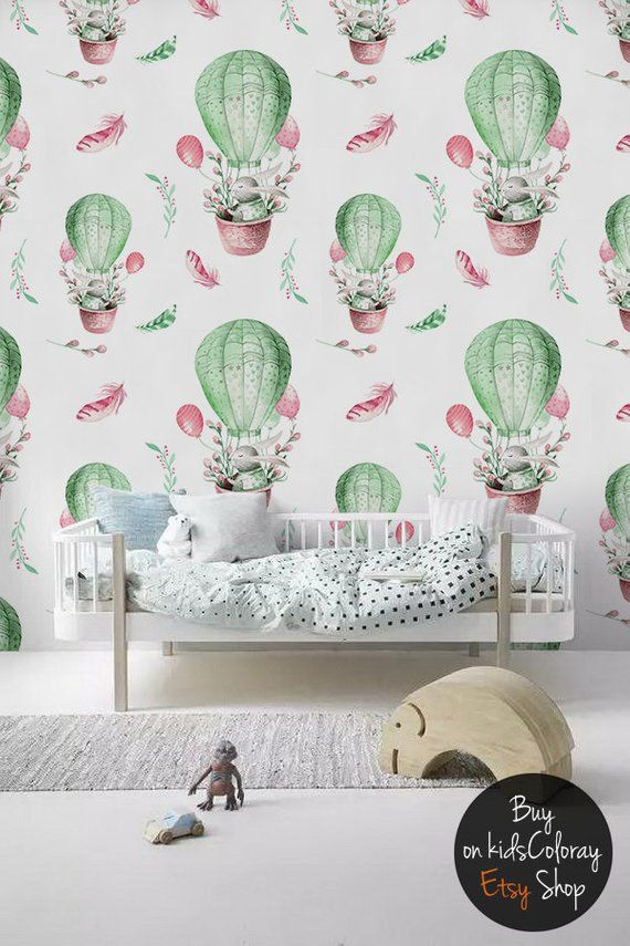 07ac634f846b3 Balloon Removable Wallpaper || Pastel Watercolor || Kids wall mural ...