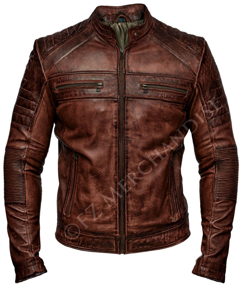 Mens Biker Vintage Antique Brown Cafe Racer Real Leather
