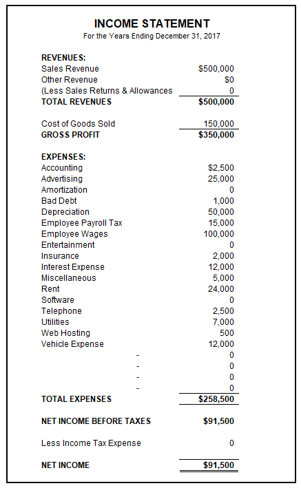 Sample Income Statement Income Statement Statement Template