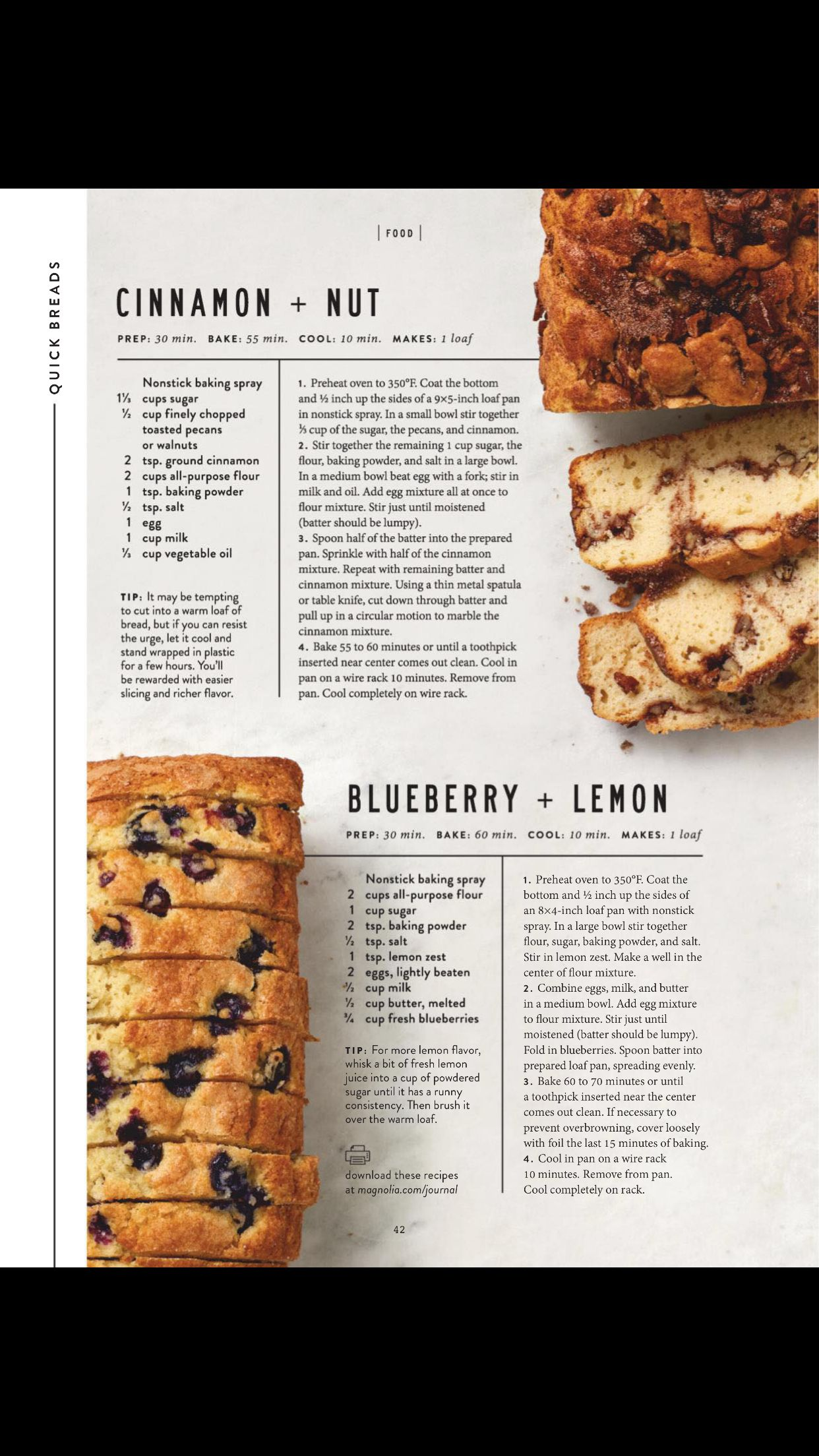 Quick Breads From The Magnolia Journal Spring 2019 Lemon Blueberry Bread Blueberry Bread Recipe Lemon Bread