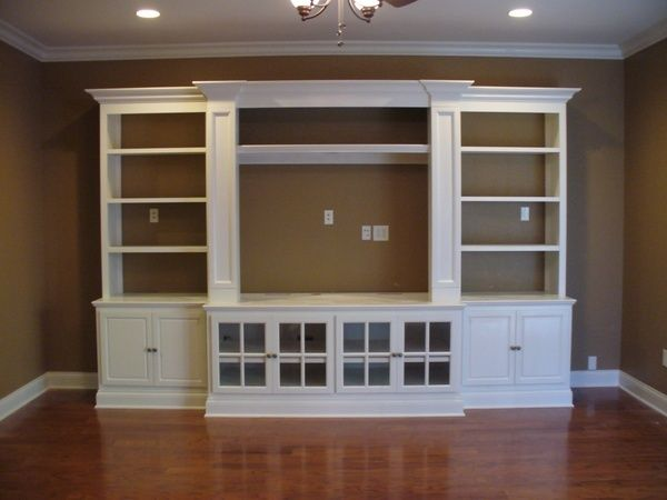 diy entertainment center ikea hack built pieces bookcases glass door cabinets besta