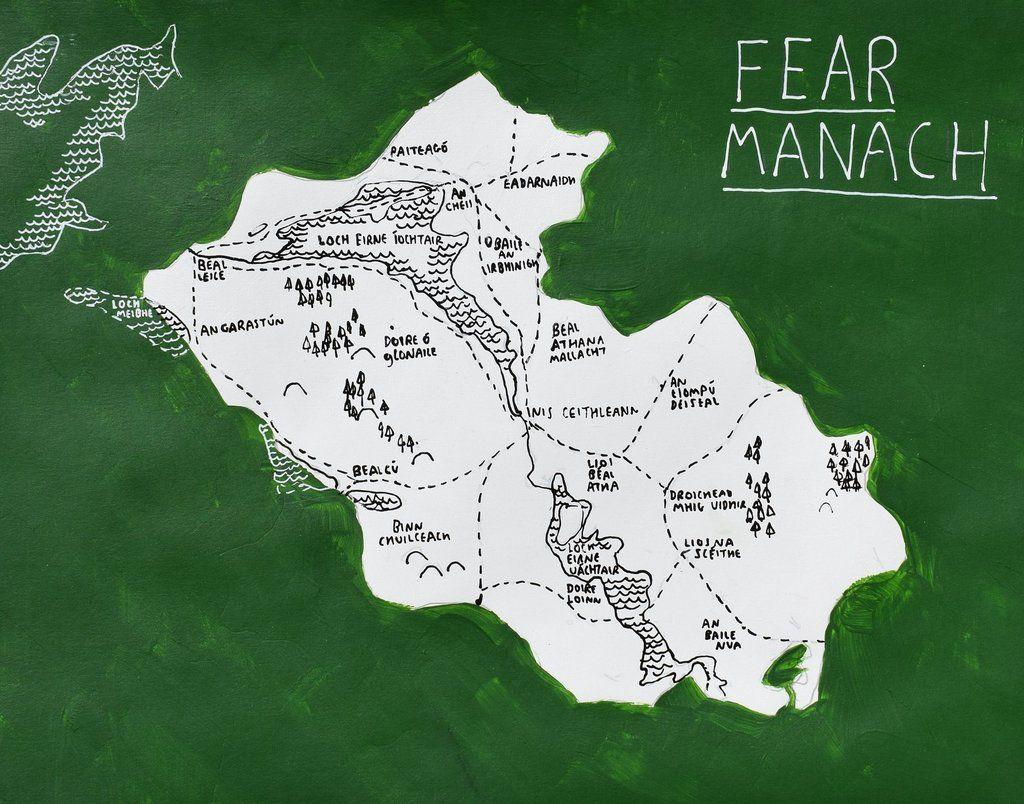 Fermanagh Ireland map art Irish language