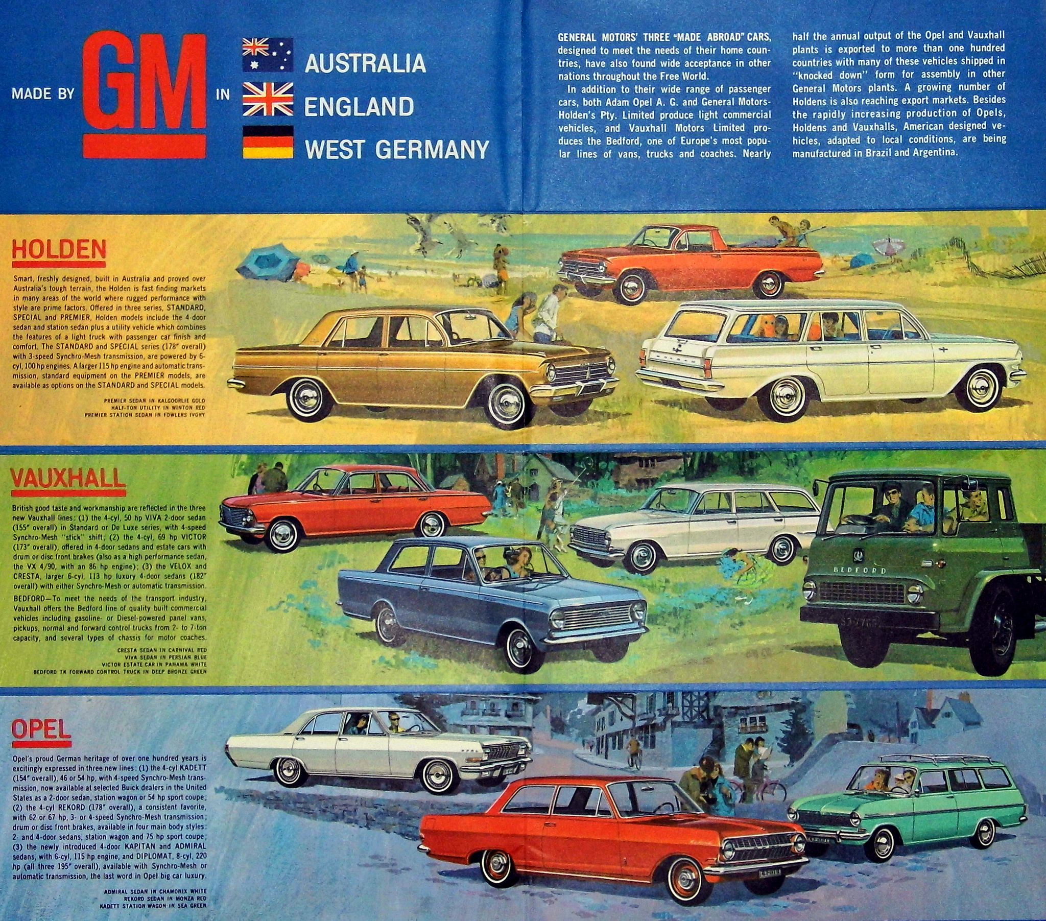 Vintage General Motors Overseas Operations Brochure For Cars Made In Australia Holden England Vauxhall And West Germany Opel Distributed By Gm At The 1 Vauxhall Holden Opel