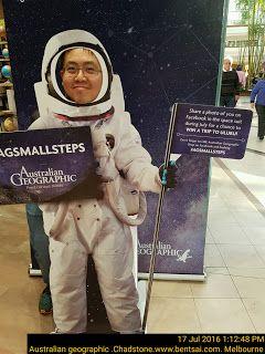 Little Ben smiling in Australian Geographic astronaut cut out   Ben-Tsai Cut-Out Melbourne Retail Smiles