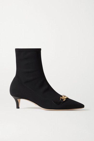 GUCCI Zumi 品牌标志缀饰皮革边饰弹力针织袜靴