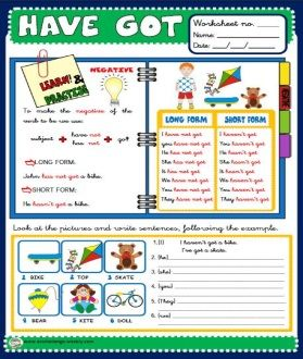 HAVE GOT - STUDY THE RULES WORKSHEET http://eslchallenge.weebly.com/pack-2.html
