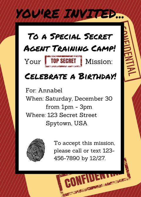 Printable Secret Agent Invitation Spy Birthday Party